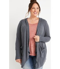 maurices plus size womens gray textured hooded cardigan