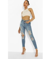 gescheurde skinny jeans met 5 zakken en hoge taille, mid blue