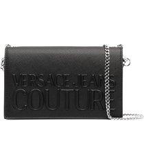 versace jeans couture logo-debossed clutch bag - black
