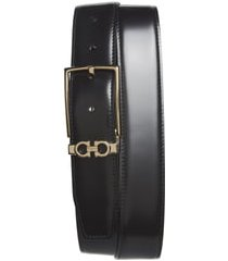 men's salvatore ferragamo reversible leather belt, size 42 - nero / t.moro