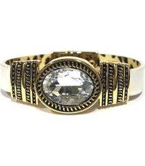 pulseira armazem rr bijoux couro cristal oval feminina