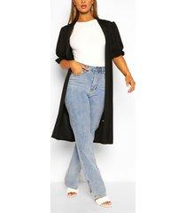 frill short sleeve maxi kimono, black