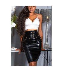sexy hoge taille faux leder rok zwart