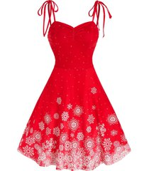 christmas tie shoulder snowflake print dress
