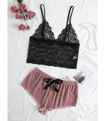 conjunto de lencería de diseño transparente con lazo de encaje rosa