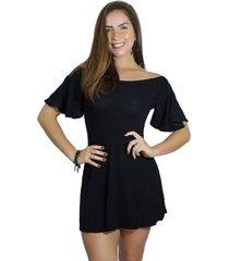 vestido racy modas godê manguinha flare preto