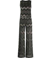 m missoni metallic chevron-pattern jumpsuit - black
