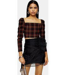 black tartan long sleeve crop blouse - black