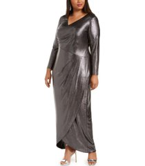 adrianna papell plus size foiled jersey wrap dress