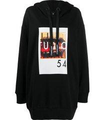 just cavalli cotton graphic print long-line hoodie - black