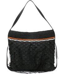 dorothee schumacher woven straw shoulder bag - black