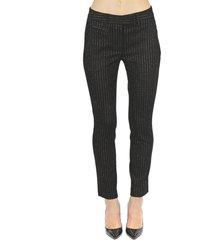 dondup black perfect cotton striped pants