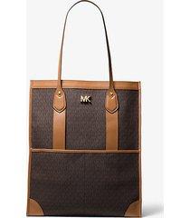 mk borsa tote bay extra-large con logo - marrone - michael kors