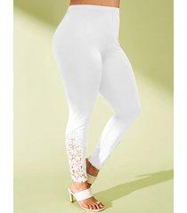 plus size flower applique panel high rise leggings