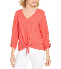 style & co striped tie-front top, created for macy's
