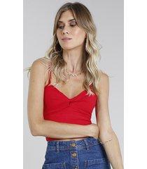 top cropped feminino canelado com nó alças finas vermelho