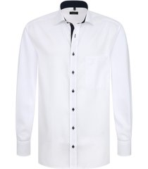 eterna overhemd wit oxford kent navy stip ml7 details comfort fit