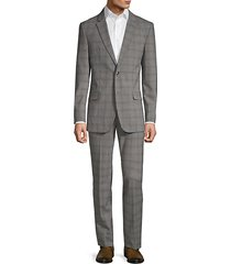slim-fit plaid wool blend suit
