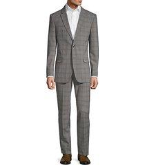 slim-fit plaid wool blend suit