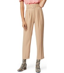 women's habitual payton belted high waist ankle trousers, size 8 - beige