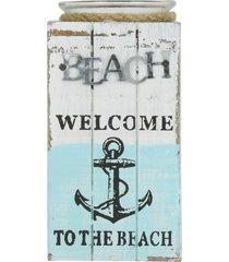 porta-vela de madeira beach médio - tricae