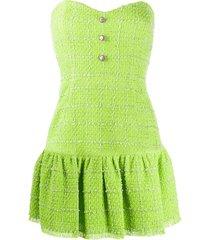 brognano strapless tweed mini dress - green