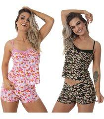 pijama para dormir thais kit 2 - estampado - feminino - dafiti