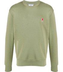 ami paris ami de coeur logo-patch sweatshirt - green