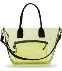 pinko kids bolsa shopper em pvc - amarelo