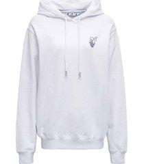 off-white white cotton hoodie with logo print