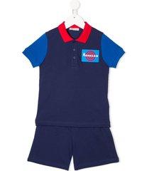 moncler enfant logo polo shirt and shorts set - blue