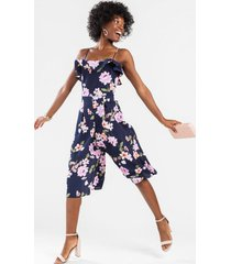 ami floral ruffle jumpsuit - navy