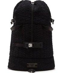 dolce & gabbana textured drawstring backpack - black