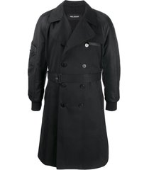 neil barrett trench coat com cinto - preto