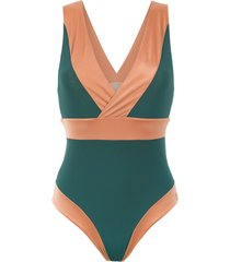 brigitte panelled swimsuit - green