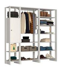 estante closet nova mobile yes com 1 cabideiro 1 porta e 12 prateleiras
