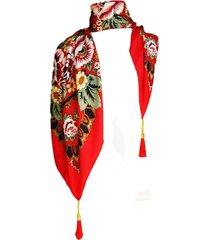 pañuelo lana flores rojo viva felicia