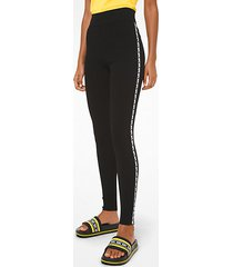 mk leggings in viscosa stretch con finitura con logo - nero (nero) - michael kors