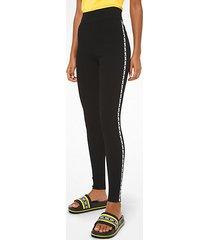 mk leggings in viscosa stretch con finitura con logo - nero (nero) - michael kors