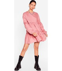 womens what brings you tier relaxed mini dress - dusty rose