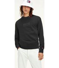 tommy hilfiger men's organic cotton tonal logo sweatshirt black - xxl
