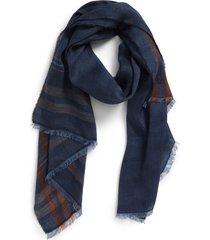 men's brunello cucinelli herringbone plaid linen & silk scarf, size one size - blue