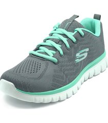 tenis running skechers graceful get connect - gris-aguamarina
