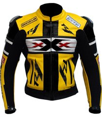 new handmade men black yellow scooter motorbike leather jacket
