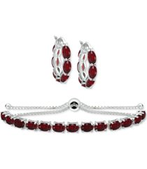 2-pc. set rhodolite garnet small hoop earrings and bolo bracelet (8-1/5 ct. t.w.) in sterling silver (also in amethyst, peridot, blue topaz & multi-stone)