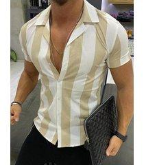hombres moda casual rayas verticales camisa manga corta collar cubano camisa