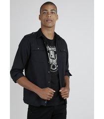 camisa de sarja masculina com bolsos manga longa preto