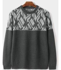 suéter de punto de cuello redondo informal con estampado geométrico cálido de invierno para hombre