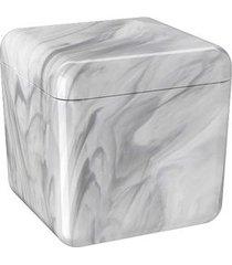 porta algodão/cotonetes cube 8,5x8,5x8,5cm mármore branco - 20879/0480 - coza - coza