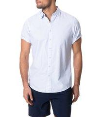 men's rodd & gunn hurford regular fit dot short sleeve button-up shirt, size xxx-large - blue